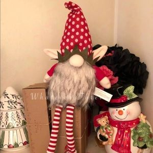 Cute Christmas elf Gnome red white candy cane